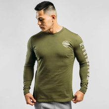 Casual Long sleeves t shirt Men Cotton Printed T-shirt Spring Gym Fitness Workout Army Green Shirts Male Running Sport Tee Tops(China)