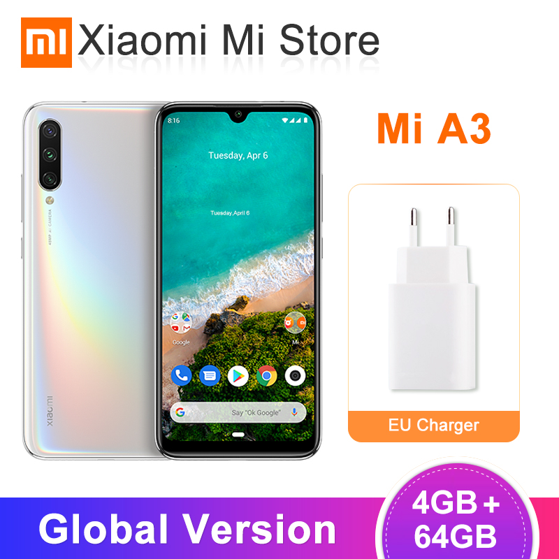 Global Version Xiaomi Mi A3 MiA3 4GB 64GB Mobile Phone Snapdragon 665 Octa Core 6.088