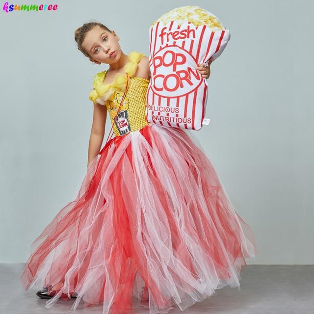 Adorable Popcorn Inspired Girls Tutu Dress Red & White Tulle Children Birthdays Halloween Dress Up Costume Kids Flower Ball Gown 3