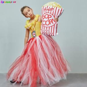 Image 3 - Adorable Popcorn Inspired Girls Tutu Dress Red & White Tulle Children Birthdays Halloween Dress Up Costume Kids Flower Ball Gown
