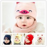3pcs Cartoon Cashmere Warm Hat + Scarf Set Baby New Born Love Girl Boy Winter Knit Cap Scarves Cotton Winter Warm Two piece Suit
