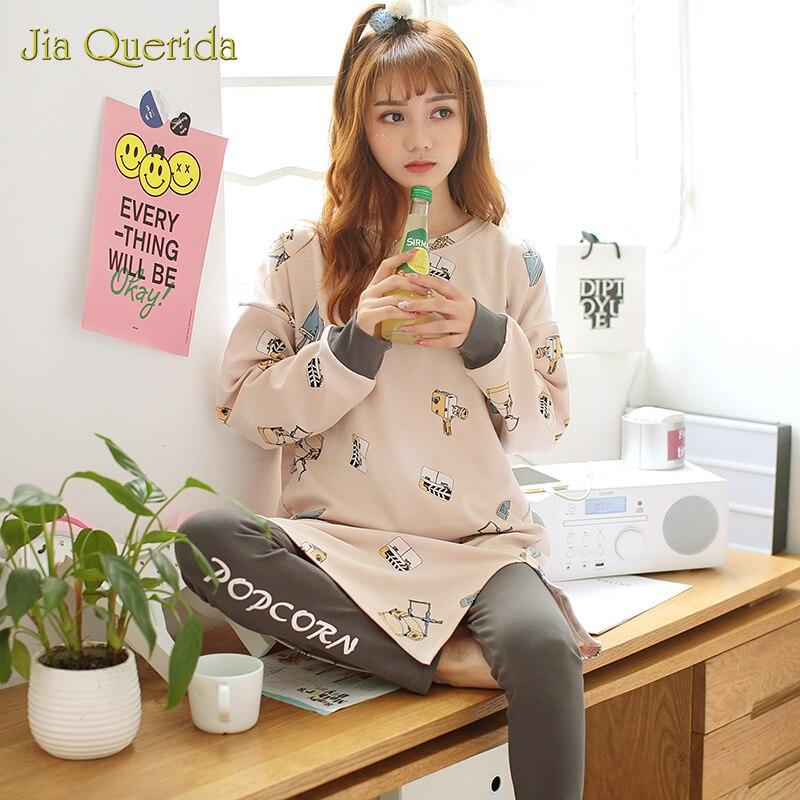 Spring New Korean Chic Style Pajamas For Women Long Sleeves Pants Cotton Printing Pijama Loose Weight Longshirt 2pieces Homesuit