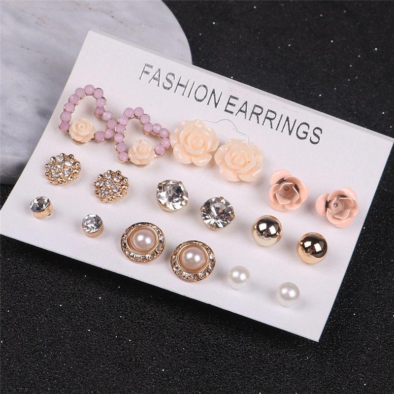 12 9 Pairs Set Women s Pearl Flower Crystal Studs Earrings Girls Elegant Rose Flower Heart