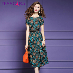 TESSCARA kobiety lato elegancka koronka sukienka kobieta biuro szata na imprezę Femme kwiatowy projektant wysokiej jakości moda-line Vestidos