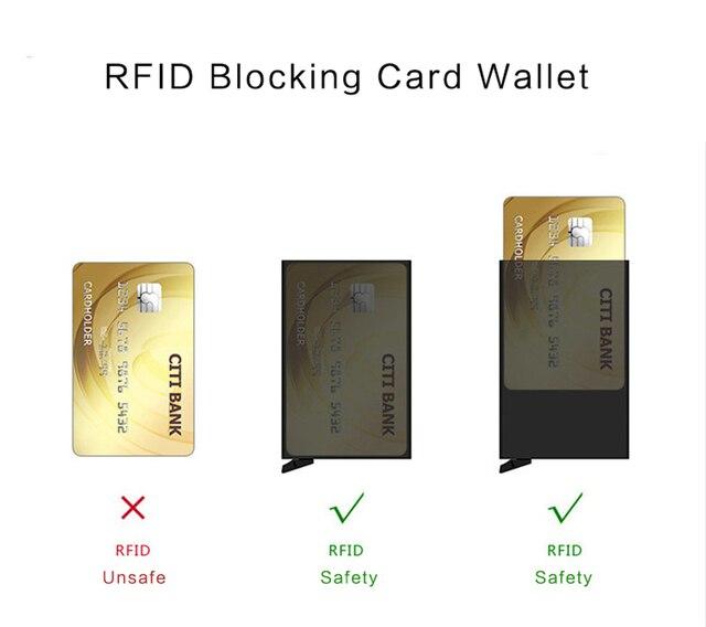 YAMBUTO Anti-robo Rfid bloqueo cartera inteligente hombres Vintage cartera cuero pu unisex información de seguridad Mini monedero de aluminio