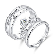 Romantic 925 Sterling Silver Love Heart Crown Cross Wedding Lovers Couple Rings For Valentine's Day Jewelry S-R21(China)