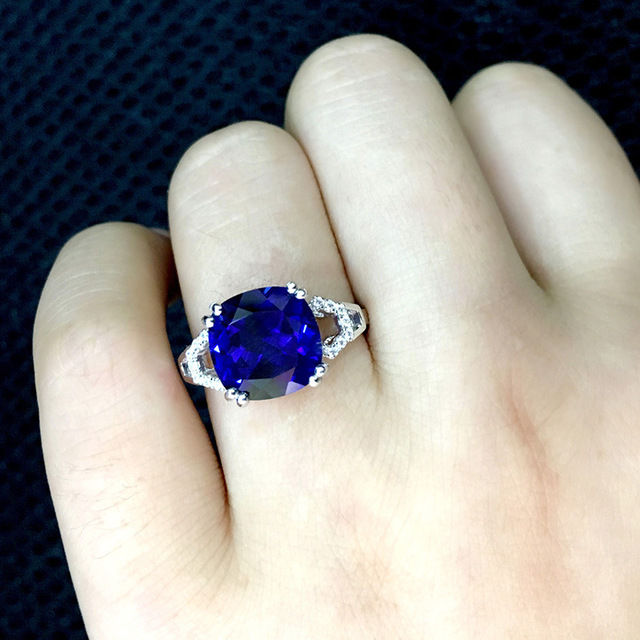 Bague Ringen New 100% 925 Sterling Silver Natural Ruby Sapphire Emerald Gemstone Wedding Engagement Cocktaill Ring Jewelry Gift 5