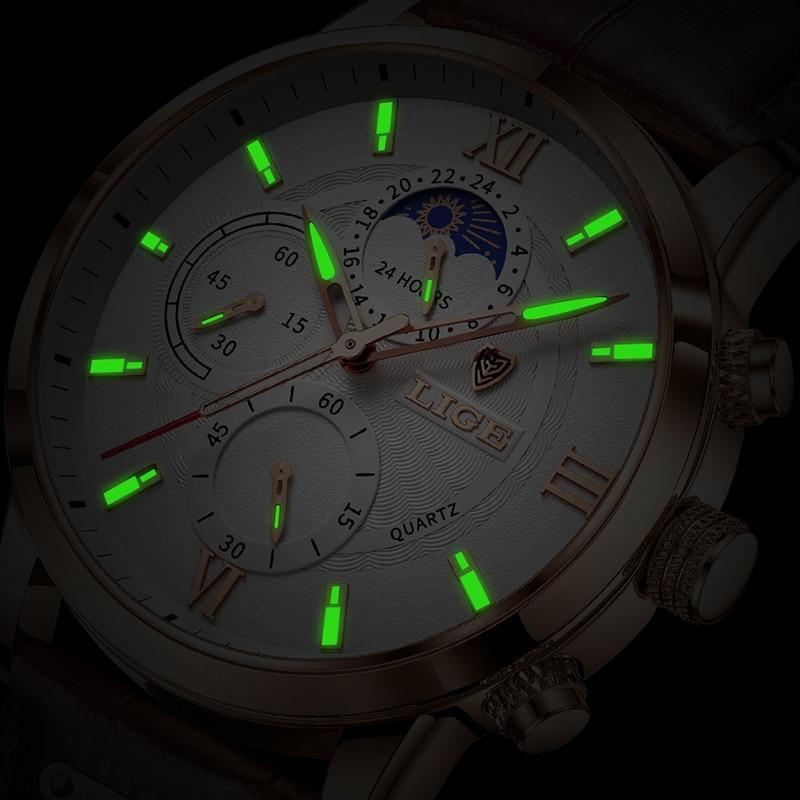 2021 LIGE Watches Mens Top Brand Luxury Clock Casual Leathe 24Hour Moon Phase Men Watch Sport Waterproof Quartz Chronograph+Box 4