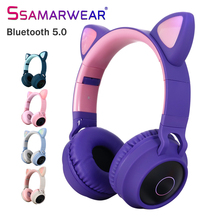 LED Bluetooth Wireless Cat Ear Headphones Folded Earphone With Microphone Cosplay Gaming Headset For Mobile Phone PC Laptop Kid hair band bluetooth wireless cat ear headphones gaming headset earphone with led light for pc laptop computer mobile phone