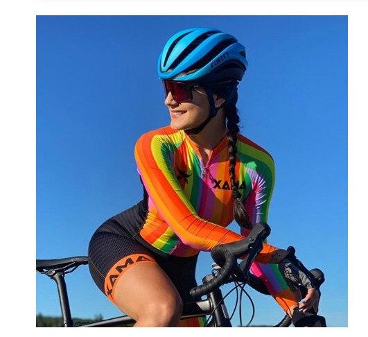 Xama ciclismo ciclismo skinsuit das mulheres manga longa bicicleta wear macacão conjunto roadbike mtb roupas ir pro tri sui 3