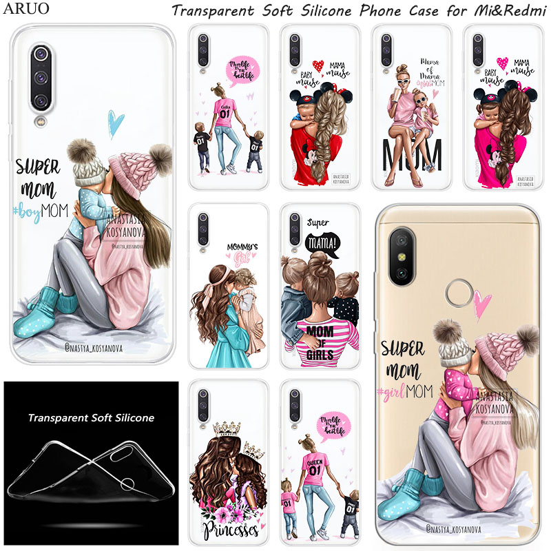 Black Brown Hair Baby Mom Boy Girl Silicone Phone Case For Xiaomi 10 9 SE 9T A3 A2 Lite Redmi K20 K30 7a 6a Y3 Note 9S 6 7 Pro 8 image