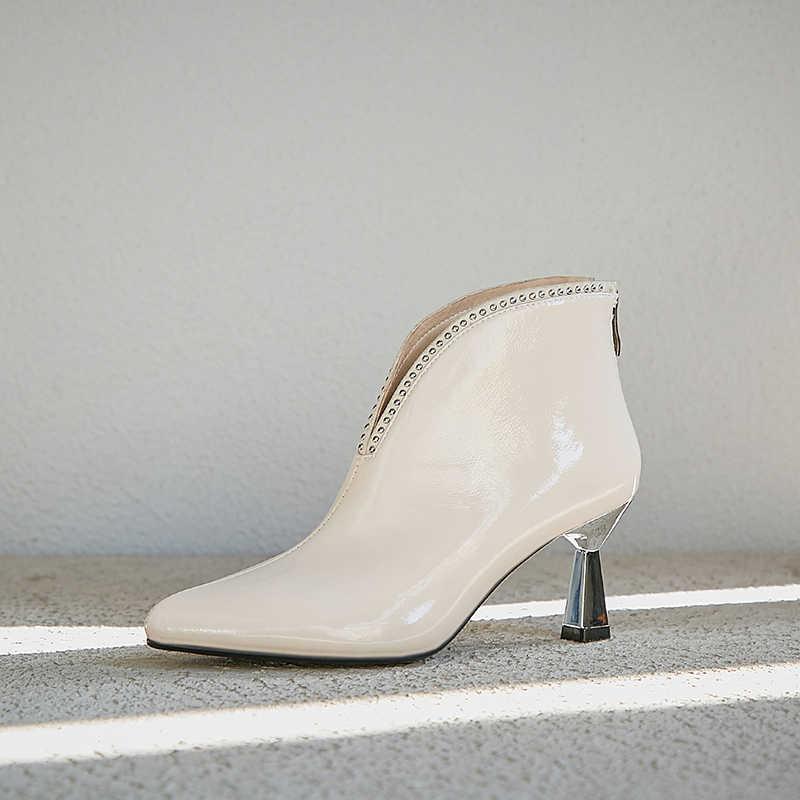 ASUMER 2020 neue kuh patent leder stiefel wies towe zip damen ankle stiefel elegante high heels herbst winer prom stiefel