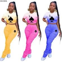 CM.YAYA siyah kraliçe Poker kartı kadın seti iki adet Set eşofman tişört yığılmış Jogger Sweatpant takım elbise kıyafet eşleşen seti
