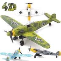 22cm 4D Diy Spielzeug Kämpfer Montieren Blöcke Gebäude Modell Flugzeug Militär Modell Arme WW2 Deutschland BF109 UK Hurrikan Kämpfer