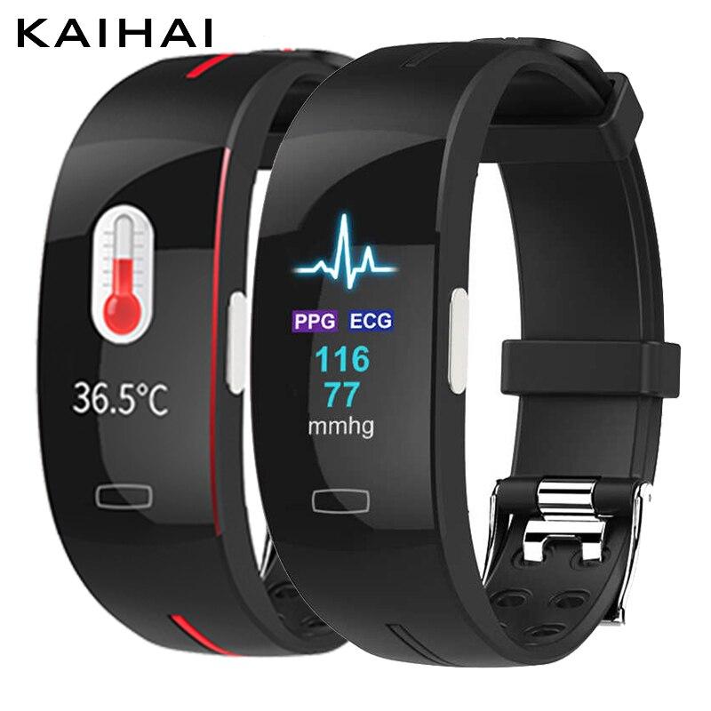 KAIHAI ppg ЭКГ вариабельности сердечного ритма для женщин Смарт-часы Браслет фитнес часы Смарт-трекер для мужчин измерение кровяного давления м...