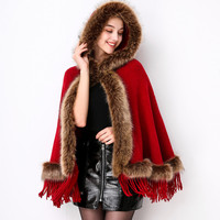 Lugentolo Womens Ponchos Autumn and Winter New Fashion Tassel Imitation Fox Fur Knitted Solid Color Cap 3 Color
