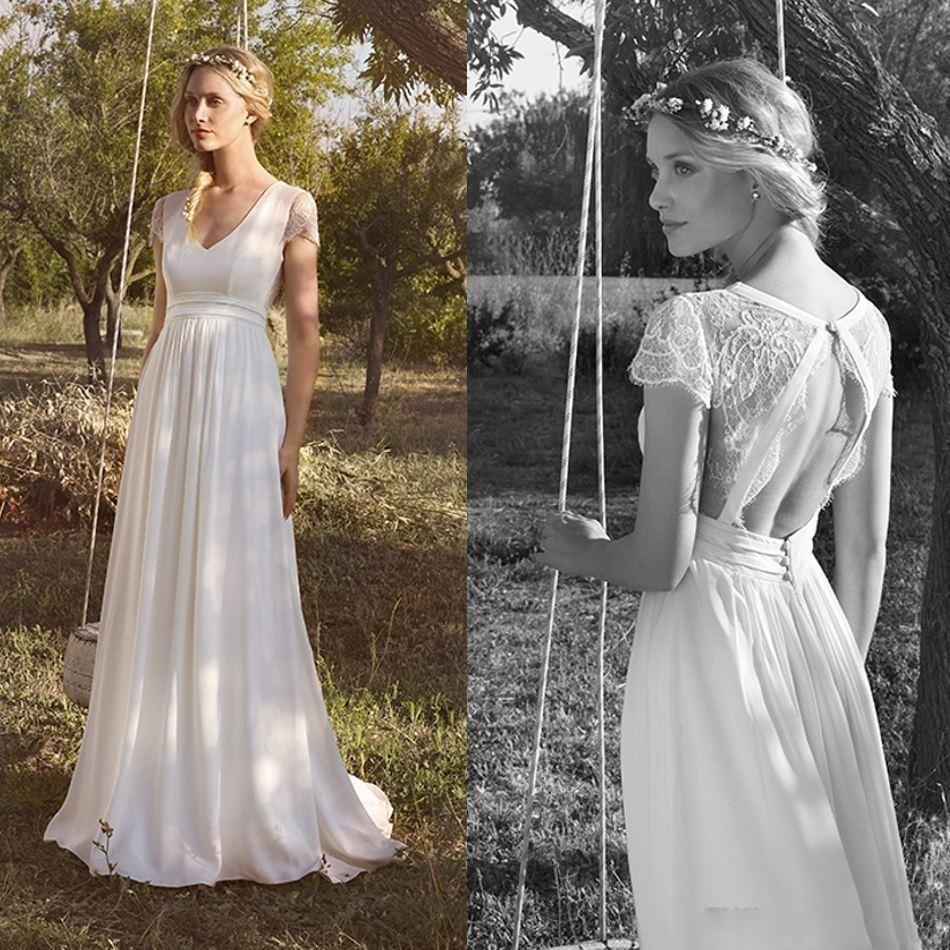 2020 Bohemian Wedding Dresses V Neck Lace Top Sweep Train Backless Bridal Gowns Custom Made Beach Boho Wedding Dress
