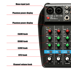 Image 5 - TU04 BT 4 Channels Sound Mixing Console Record 48V Phantom Power Monitor AUX Paths Plus Effects Audio Mixer with USB