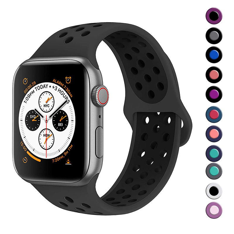 Band For Apple Watch 5 4 3 2 40mm 44mm 42MM 38MM Soft Breathable Strap Silicone Sports  Bands For Nike+ Iwatch Series