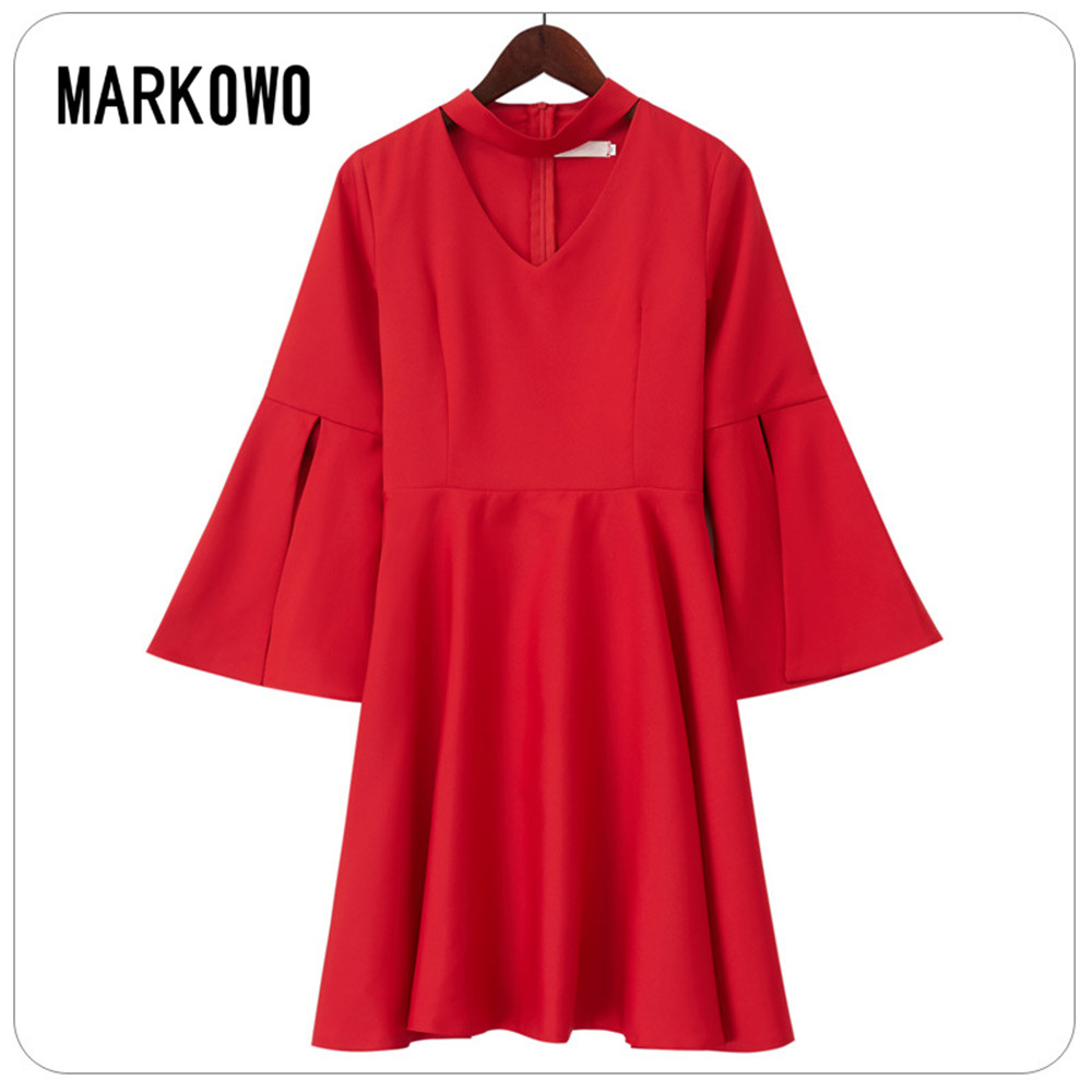 MARKOWO Designer Brand 2020 New Party spirit elegant temperament floating sleeve V-neck short dress Evening Dress Medium skirt s
