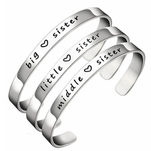 2020 new popular jewelry big sister \ little middlesister stainless steel bracelet