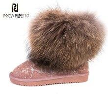 Inverno nova moda shearling pele de raposa botas de neve com aumento anti-skid tubo curto grosso inferior couro sapatos de algodão feminino