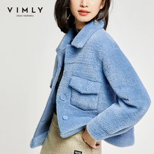 Short Jacket Vintage Vimly Overcoat Collar Breasted-Pockets Winter Women Turn-Down Thick
