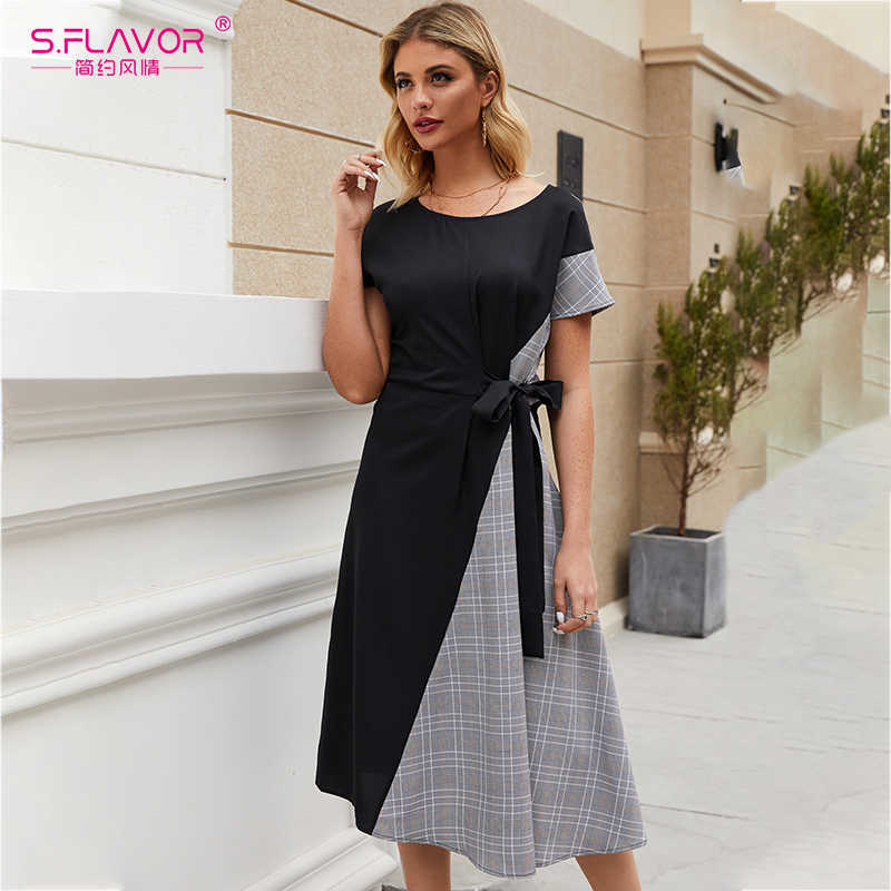 S. Smaak Moden Mode Vrouwen Patchwork Casual Dress 2020 Lente Zomer Korte Plaid Vestidos De Vrouwen O-hals Midi Jurken