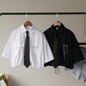 Винтажная бандажная короткая блузка для женщин, лето 2020, Харадзюку, рубашка, галстук-булавка, Лоскутная уличная женская рубашка, топы