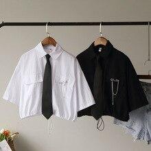 Vintage Bandage Short Blouse Women 2020 Summer Harajuku Shirt Tie Pin Patchwork
