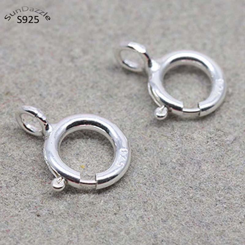 2 шт., весеннее кольцо с застежкой, 5-10 мм, настоящая однотонная Серебристая застежка с открытым кольцом, соединительная Пряжка, фурнитура для...