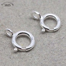 2pcs 5-10mm Real Pure Solid 925 Sterling Silver Spring Ring Clasp with Open Jump Ring Connection Buckle Jewelry Making Findings 30pcs lot gold silver spring ring clasp with open jump ring jewelry clasp for chain necklace bracelet connectors jewelry making