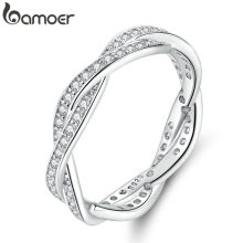 bamoer 8 STYLE BRAIDED PAVE LEAVES My Princess Queen Crown SILVER RING Twist Of Fate Stackable Ring ANNIVERSARY SALE 2019(China)