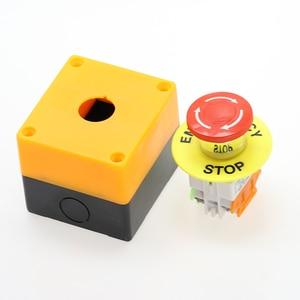 Image 3 - 1PCS พลาสติกสีแดงป้ายสวิทช์ปุ่มกด DPST เห็ดปุ่มหยุดฉุกเฉิน AC 660V 10A ไม่มี + NC LAY37 11ZS