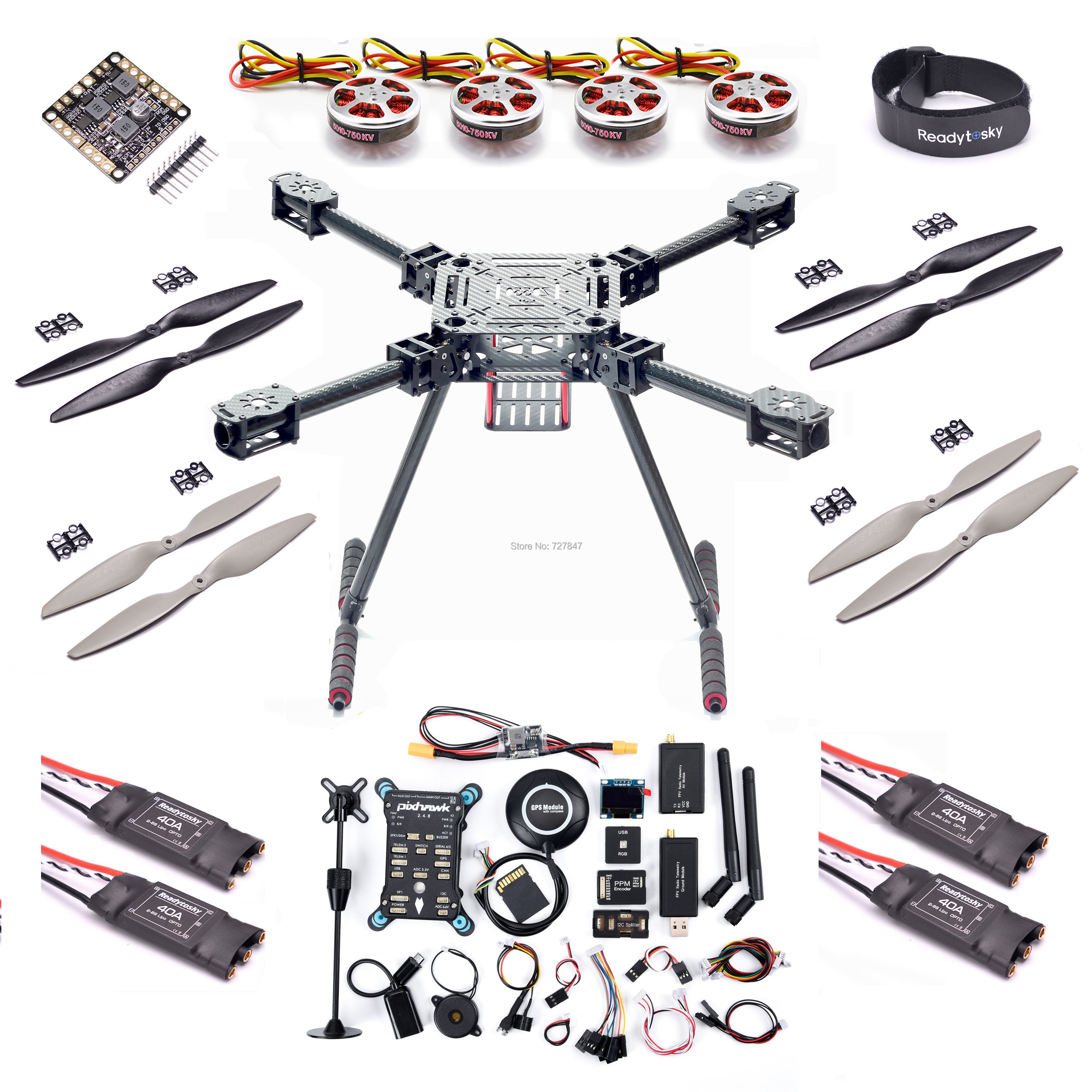 Upgrade F550 ZD550 550mm Carbon fiber Quadcopter Pixhawk PX4 PIX 2.4.8 Flight Control set <font><b>5010</b></font> 750KV Motor 40A OPTPO ESC image