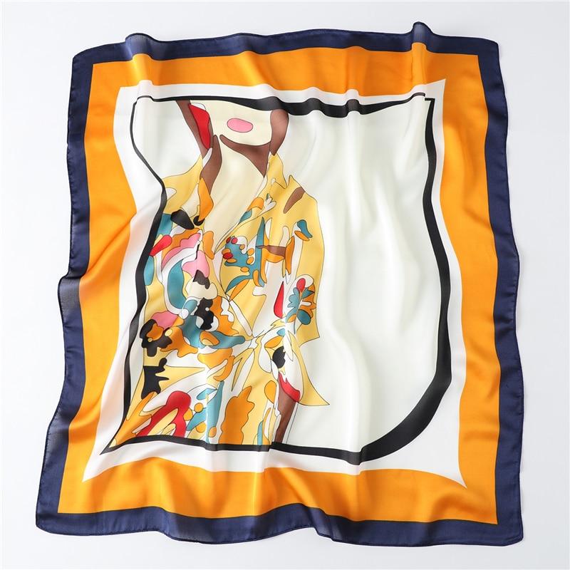 2020 Designer Women Silk Scarf Pattern Neck Hair Band Foulard 70cm Square Head Tie Print Scarves Bufanda