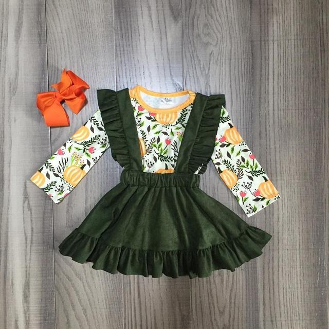 Kinderen meisjes 2 stuks kleding meisjes vallen jurk meisjes Halloween jurk meisjes jurk pompoen print met boog