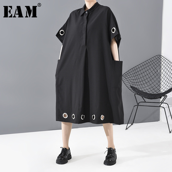 [EAM] Women Black Hollow Out Big Size Long Shirt Dress New Lapel Half Sleeve Loose Fit Fashion Tide Spring Summer 2020 1T958