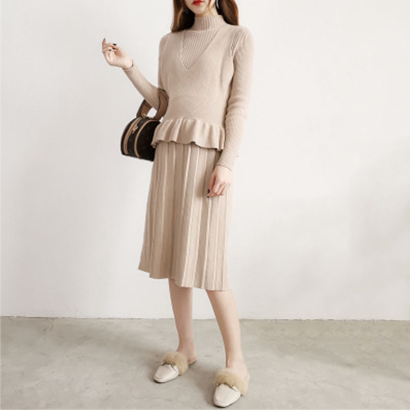 Autumn New Dress Female Long-sleeved Shirt In The Long Section Of Knitted Skirt Two Sets Of Foreign Gas