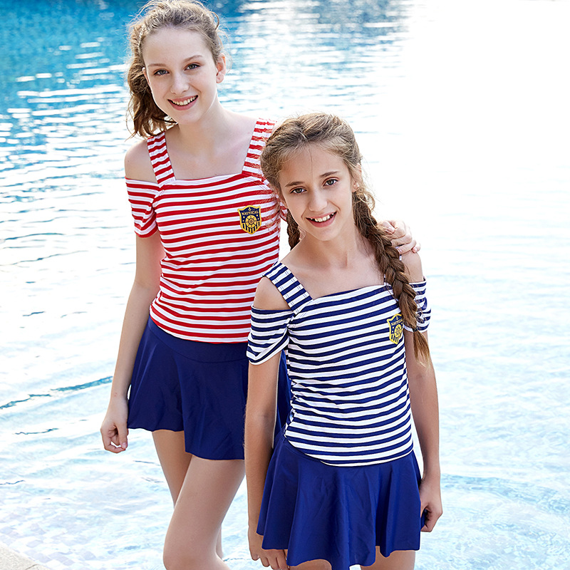 2018 New Style Stripes Camisole Off-Shoulder Split Type KID'S Swimwear Women's Fashion WOMEN'S Swimsuit Manufacturers Direct Sel