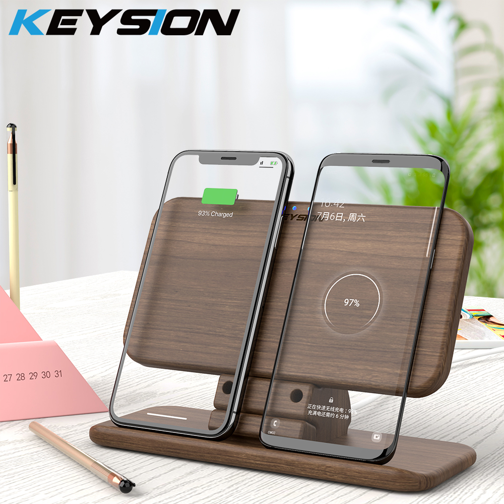 KEYSION 5 Coils Dual QI Fast Wireless Charger Stand/Pad convertible Charging For Samsung Note10+ S10 S9 iPhone XS Max XR AirPods