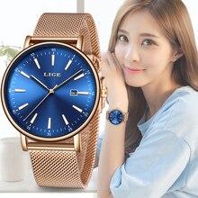 LIGE Relógio De Pulso Das Mulheres Da Forma do Aço Inoxidável de Quartzo As Se Vestem Relógios Pulseira Reló