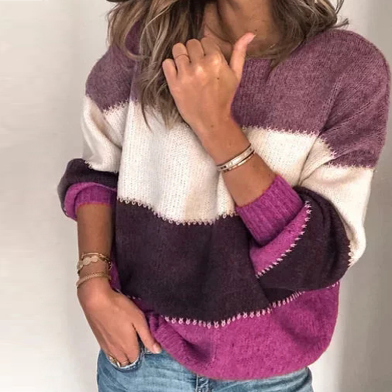 VIEUNSTA Fashion Patchwork O-neck Autumn Winter Sweater 19 Women Long Sleeve Warm Knitted Sweaters Pullover Female Tops Jumper 15
