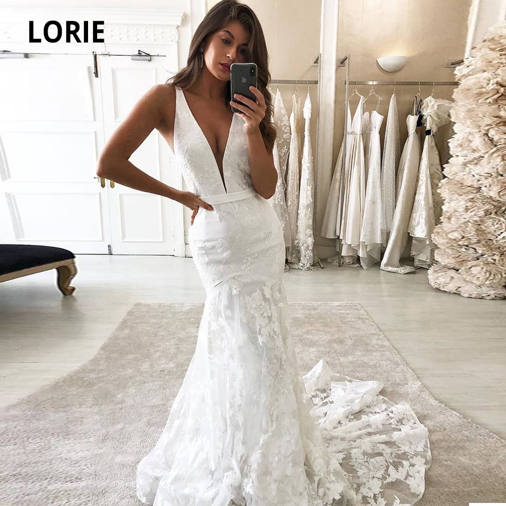LORIE Deep V-neck Mermaid Wedding Dresses Lace Appliques With Tulle Satin Bridal Gowns Beach Sleeveless Backless Plus Size 2020