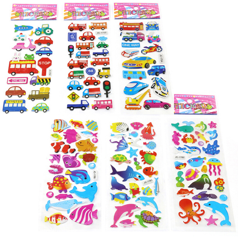 le Stickers 3D Cartoon Kids Scrapbooking School Reward Xmas 12sheets gift