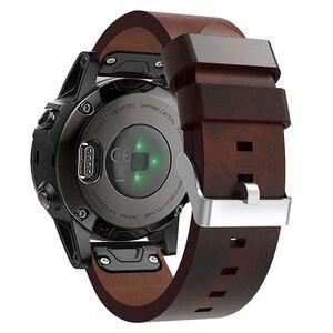 Image 1 - 22 مللي متر جلد طبيعي فاخر حزام ساعة اليد ل Garmin Fenix 5 سريعة صالح المشبك معصمه سوار ل Fenix 5 زائد/Quatix 5 حزام