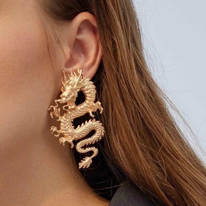 Punk Gold Tone Firery Dragon Stud Earrings For Women 2020 Unique Chic Metal Dragon Statement Earrings Jewelry Femme Bijoux