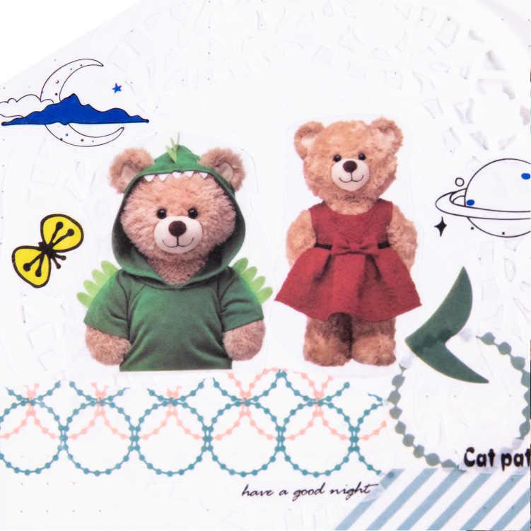 1 רול Kawaii Washi קלטת חמוד קריקטורה קטן ממולא בעלי החיים דפוס מיסוך קלטת יומן כתב עת קישוט Washi מדבקות