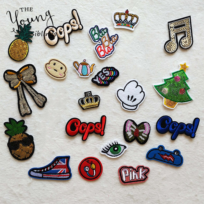 New DIY Letter Bowknot Patch Kids Iron On Cartoon Patches For Clothes Stickers Custom Cheap Embroidered Cute Patches Applique