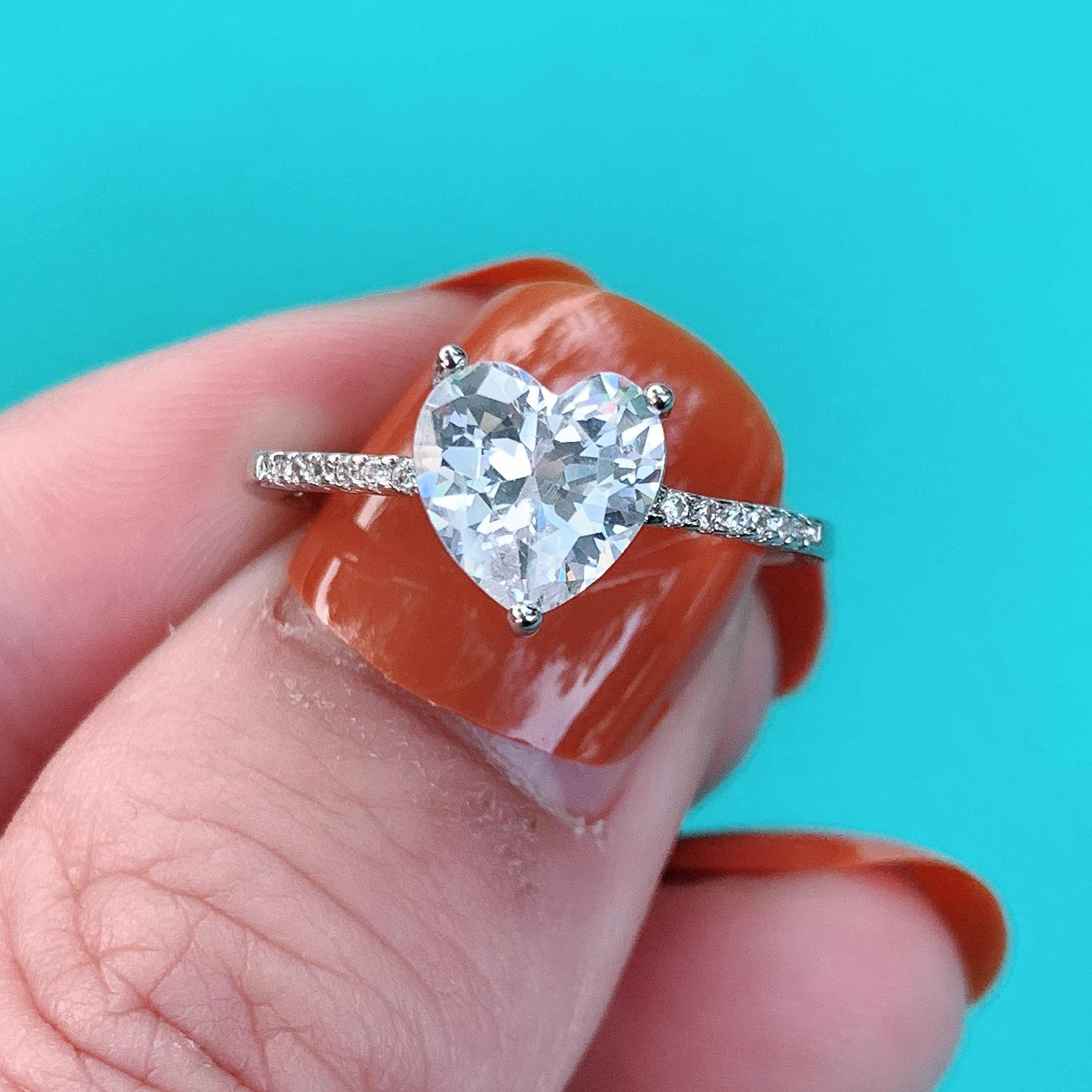 Vecalon לב מבטיחים טבעת אמיתי 925 סטרלינג כסף 1ct AAAAA Cz אירוסין נישואים טבעות לנשים כלה תכשיטי מפלגה